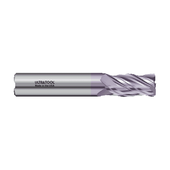 "323R 3/8 Ø 1"" x 2-1/2 x 3/8 4 Flute .125 Radius Single End Variable Helix Carbide End Mill AlTiN"