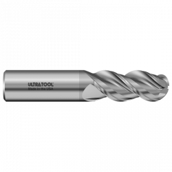 333ALB 1/8 Ø 1/2 x 1-1/2 x 1/8 3 Flute Ball Single End Specialty Carbide End Mill for Aluminum TiB2