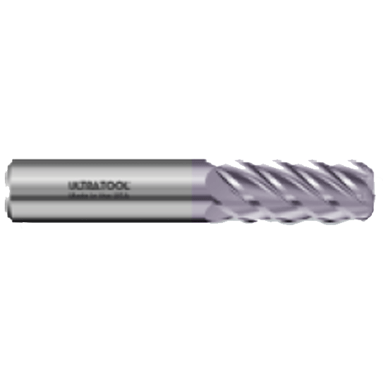 "355R 3/8 Ø 2"" x 4"" x 3/8 5 Flute .125 Radius Single End Specialty Carbide End Mill AlTiN"